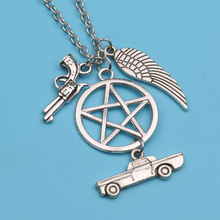 Supernatural Pentagram Design Necklace For Women Vintage Silver Forces Walking Dead Pendant Collier Choker Bijoux