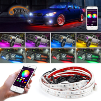 OKEEN Phone App Control 60/150cm Car RGB LED Strip LED Under Car Glow Underbody System Neon Light Waterproof Auto Car Styling