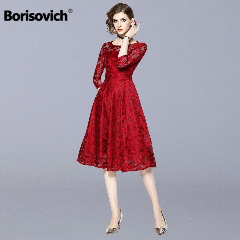 737e4b0010 Borisovich Mulheres Casuais Vestido de Renda Novo 2018 Moda Outono Big  Balanço Linha Elegante da Festa