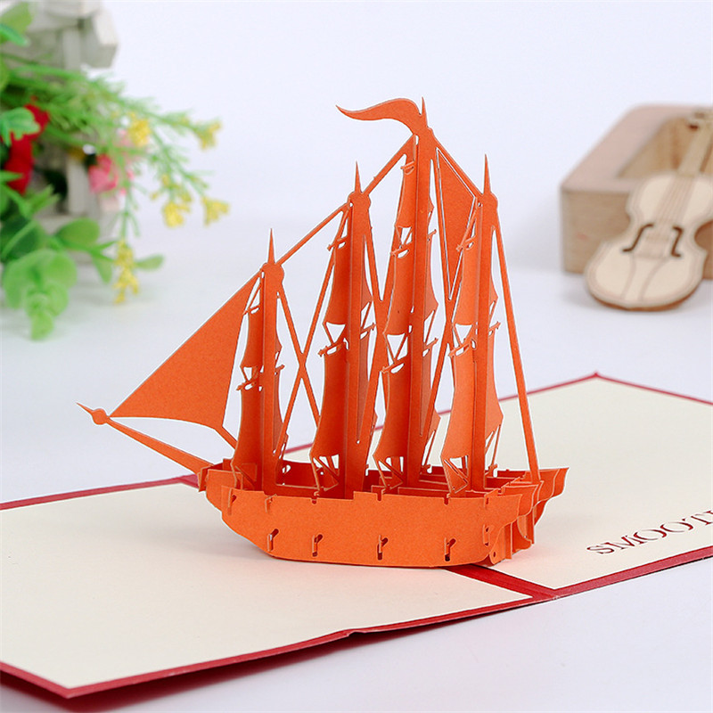 3D Handmade Hollow Out Sailing Ship Paper Greeting Cards