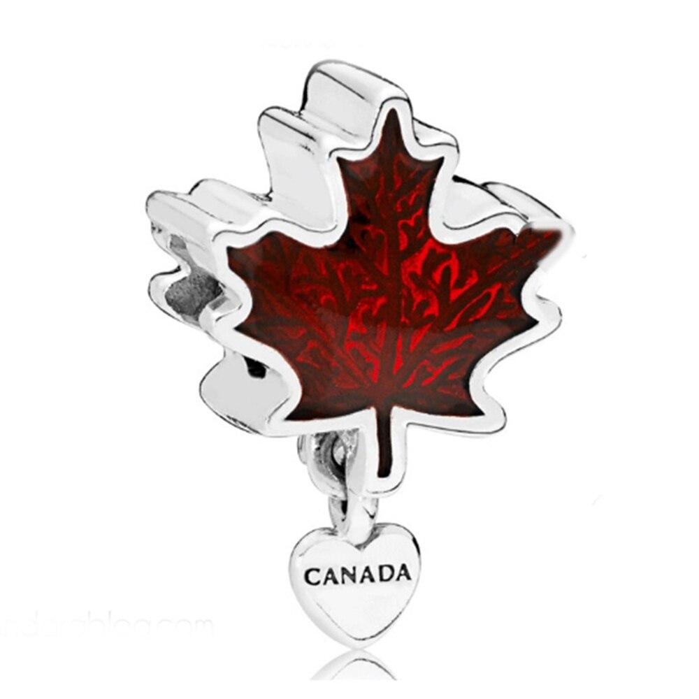 Canadá Bandeira Charme Beads Real de 100% 925 Sterling Silver Maple Leaf Charme Beads Fit Pulseira Original Jóias Diy 2018