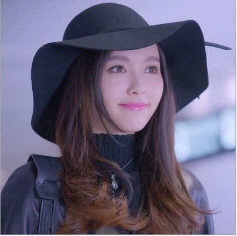 Alta calidad pura lana caps sombreros de ala playa floppy ala ancha sombrero para el sol plegable con el lazo de las mujeres de otoño e invierno sombrero AA0001