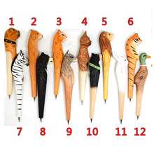 100% Handmade Artistic Carving Ballpoint Pen Wooden Animals Ball Lion Tiger Panther Pens for Kids Writing Gift Toys Art deco