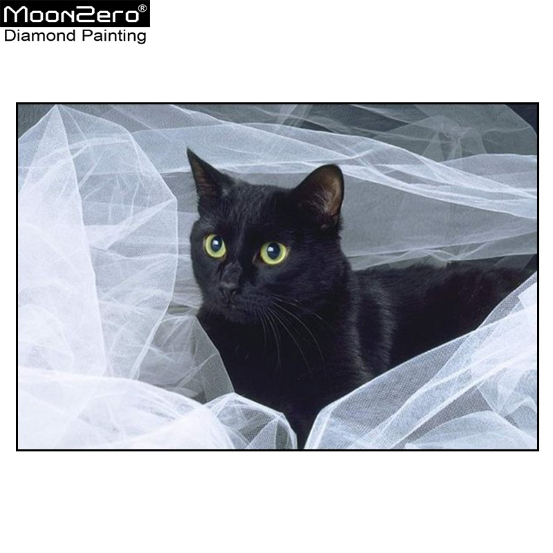 Új Diy Diamond Hímző Mozaik Fehér Fonal Black Cat Teljes - Művészet, kézművesség és varrás