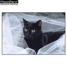 Новый Diy Diamond Вышивка Мозаика Белая пряжа Черная кошка Полная алмазная живопись Крест-вышивка Ручная работа Домашнее украшение ремесла
