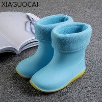 New Autumn Winter Kids Rain Boots Warm With Cotton Shoes For Children Non Slip Waterproof Girls