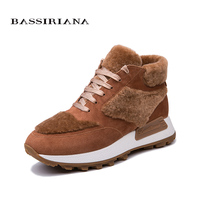 BASSIRIANA 2018 New Women Flats Flat with natural suede sheepskin winter boots 35 40 Free Shipping