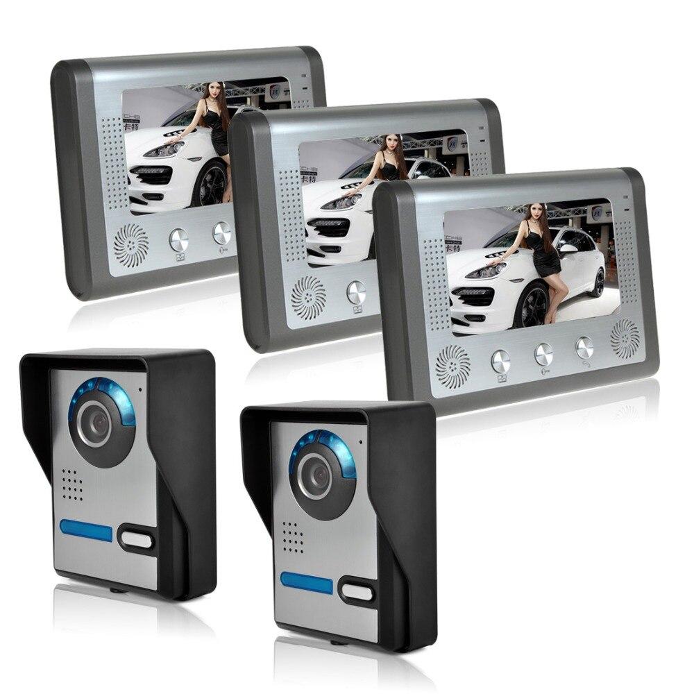 outdoor camera Angle is adjustable 7 Inch Night Vision Digital Color Video Door Phone Intercom Doorbell Doorphone System