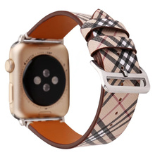 ASHEI Tartan Plaid Style Leather Strap For Apple Watch Band Series 3 42mm 38mm Replacement Strap Wristband For iWatch Series 2/1