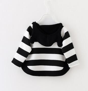 The new 2016 girls fall clothing collar stripe knitting coat child baby girl baby han edition cute cartoon coat