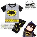 Meninos Cinza Roupas Batman Dos Desenhos Animados Pijamas Crianças Verão Outono Pijamas Crianças Curto Sleepwear Manga Para 2-7A