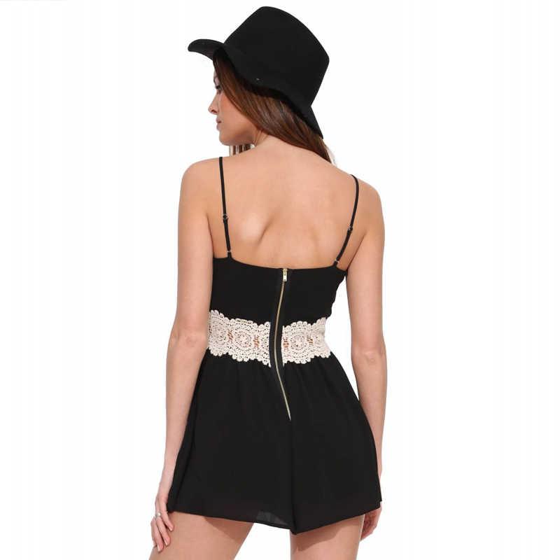HYH глубокий халат с v-образным вырезом для женщин черный без рукавов Спагетти ремень комбинезон женский Повседневный сексуальный без спинки для женщин