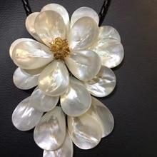 LJHMY Хрустальные Бусины, белое ожерелье в виде морской раковины с цветком для женщин, массивное ожерелье с нагрудником