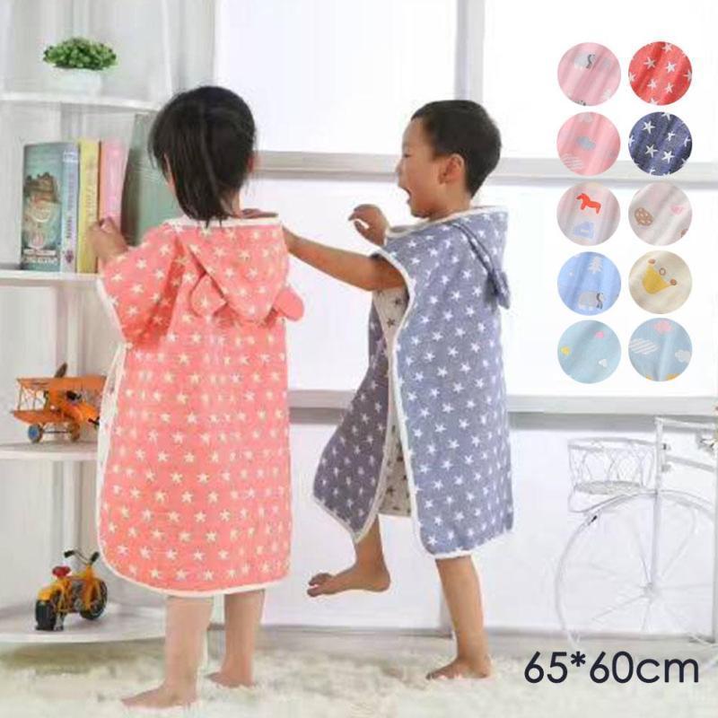 Hooded baby kids Bathrobe Bath Towel Muslin cotton infant Beach Towel Washcloth boys girls Bath Robe children bathing towel D3