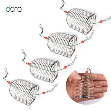 5pcs Stainless Steel Wire Fishing Lure Conical Cage Fish Bait Accessory Trap Basket Feeder Holder