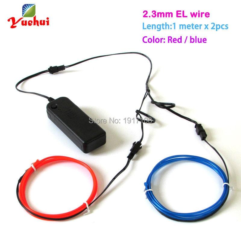 2.3mm 1Meter 2 pieces Custom colors flexible EL wire ...