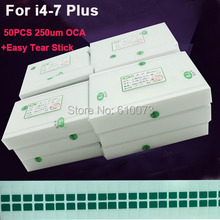 50 pz/lotto 250um OCA Adesivo Trasparente Ottico per il iPhone X 8 7 più di 6s 6 plus 5 5s 5c SE 4 4 4s OCA Colla Touch Obiettivo di Vetro Pellicola