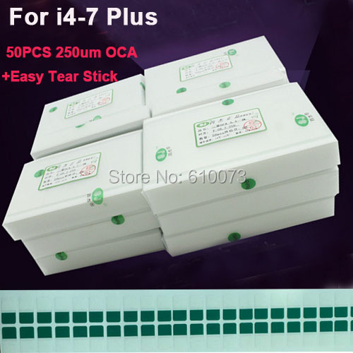 50pcs/Lot 250um OCA Optical Clear Adhesive for iPhone X 8 7 plus 6s 6 plus 5 5s 5c SE 4 4s OCA Glue Touch Glass Lens Film