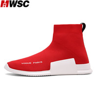 MWSC Autumn Winter Mens Fashion Slip On Shoes High Top Male Casual Fly Weave High Top
