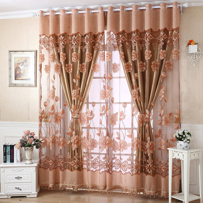 250cm X 100cm Flower Tulle Door Window Curtain Drape Panel Sheer Scarf  Valances Curtains 4 Colors