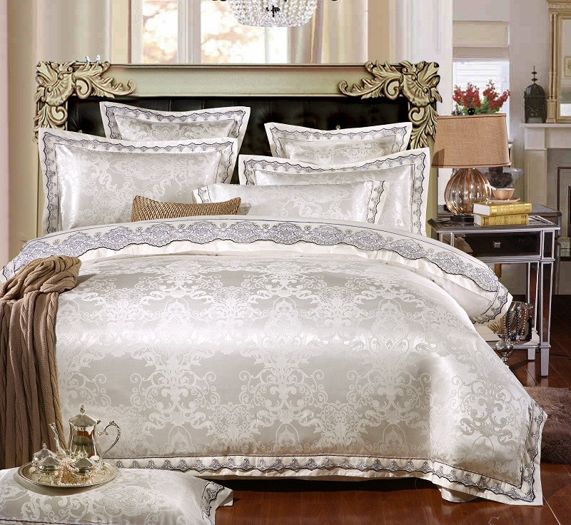 White SilverSatin Luxury Bedding sets Queen King size lace cotton Jacquard Bed set sheets Bed linen