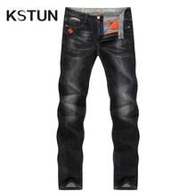 33c109b617c KSTUN 2019 Black Slim Fit Stretch Denim Casual Pants Business Trousers Jean  Homme