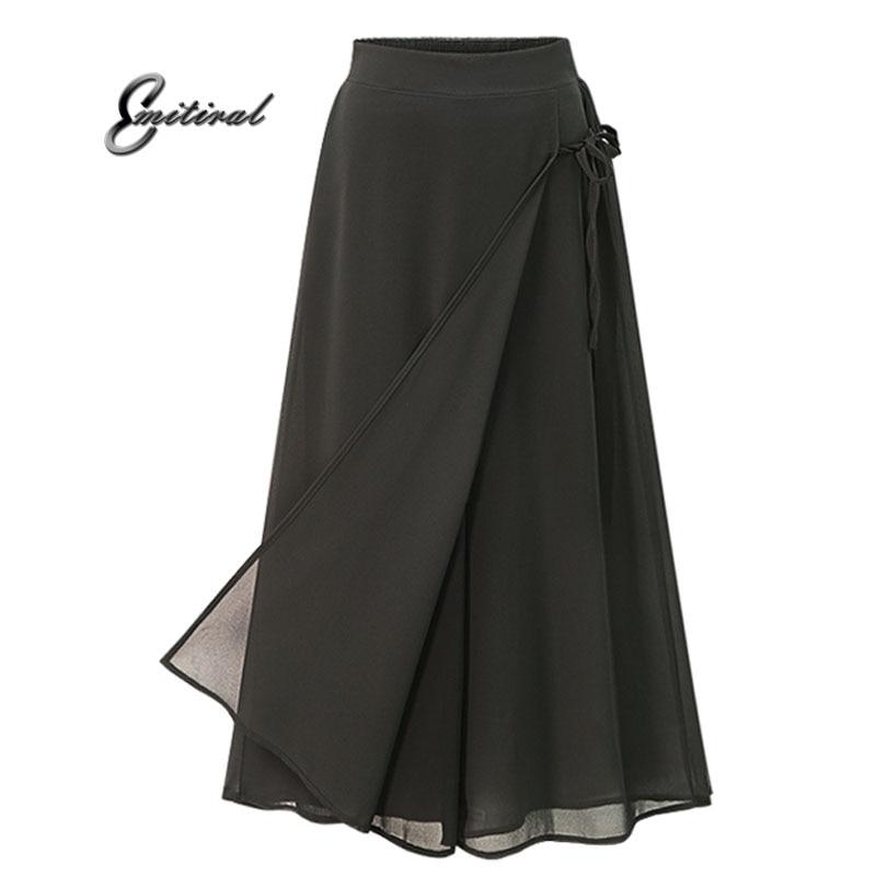 2018 New Summer European Style Plus Size 5XL Women Trousers Casual Loose Chiffon Calf- Length Pants Black Wide Leg Ladies Pant