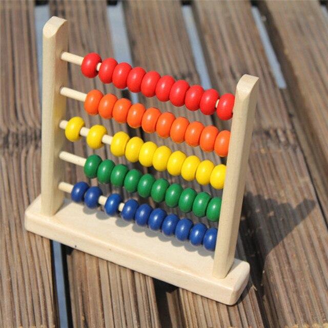 Juguete educativo Mini Abacus de madera niños primeros números de aprendizaje de matemáticas cuentas de cálculo Abacus Montessori