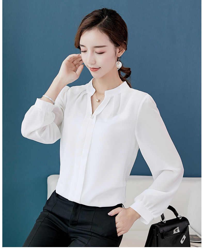 秋 2019 新しい女性の白シャツ長袖黒シャツ韓国女性服ストリートスリムシフォンブラウスエレガントな女性トップス