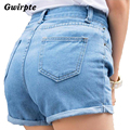 Retro high waist denim shorts female wild spring and summer loose short female thin curling fashion lager size short jeans women