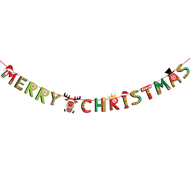 3m Christmas Banners Paper Hanging Flags Santa Claus Snowman Deer Xmas Tree Bunting Garland Merry Christmas Decorations for Home