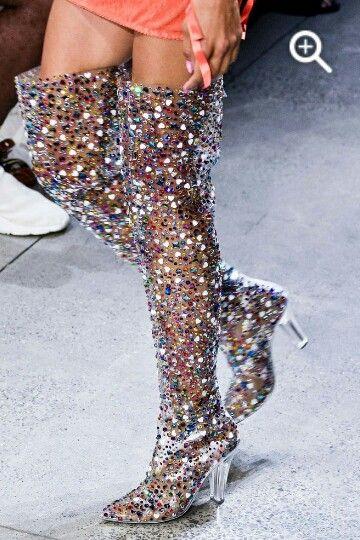 Abesire 2019 Nieuwste Vrouwen Multi Kleur Glitter Vierkante Hoge Hakken Over de knie Laarzen Dames Puntschoen Side zipper Runway Schoenen - 3