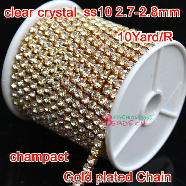 HOT clear glass Rhinestones cup Chain 1Row 2.8mm Ss10 stones 10 Yards Lot  Gold dc7f1fc276c9