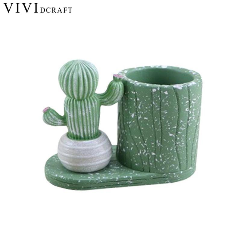 Pen Stand Holder Christmas Gift Desk Organizer Kawaii Cartoon Cactus Succulents Plant Pen Pencil Holder Office Desk Accessories