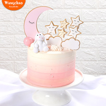 1 Set Moon Star Clouds Theme Birthday Party Cake Topper Chaming Little Stars Happy Decoration Supplies