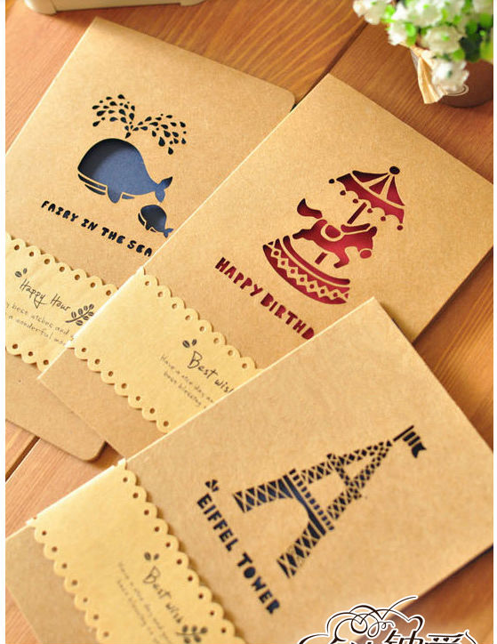 6pcs Lot Creative Hollow Out Design Greeting Cards With Kraft Envelope For Birthday Mother Day Christmas Message CardAKL 063