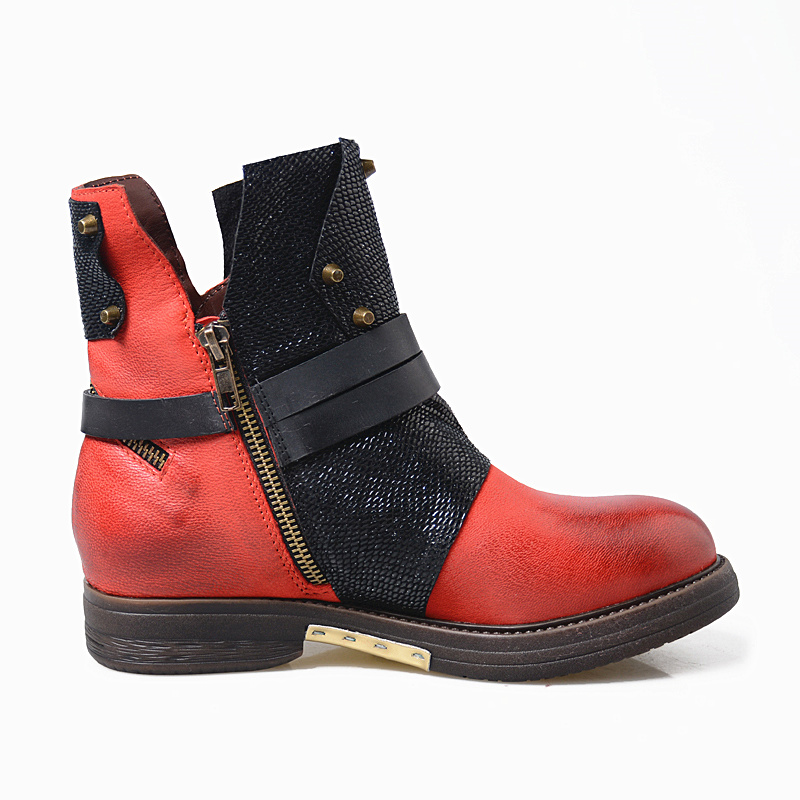 Appartements Rond Rivet Prova Véritable Chaussures Mixte 2018 Bottes In Perfetto Couleur Femelle Courtes Gladiateur Leather Nouvelle Plush In Rome Cuir Bout Femmes Red En red 88rTqaw