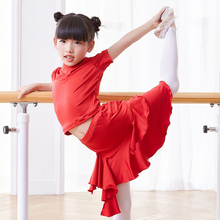 girls dance dress latin T shirt skirt layers for ballroom dancing kids dresses