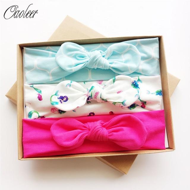 3pcs/Box Cotton Fabric Headband Printed Top Knot Head Band  Girls Soft Turban Headbands Best Gift For Kids Girl Hair Accessories
