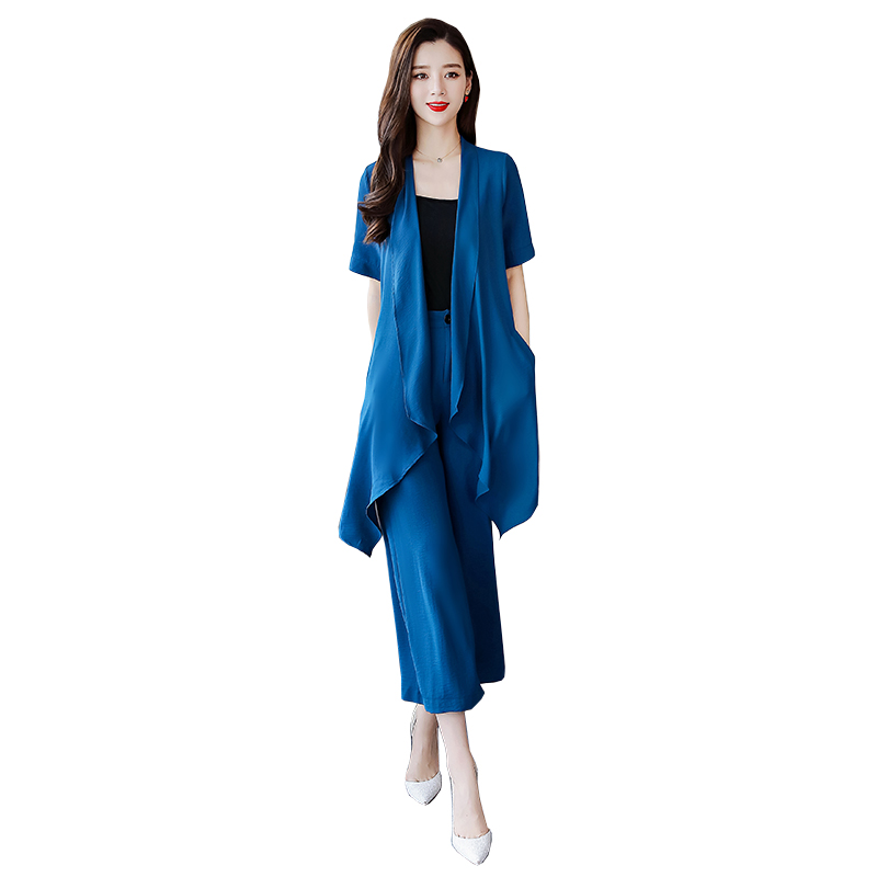 vert H147 Lotus Ouvert Feuille 2019 Manteau Printemps Nouvelle En De Polyester Ensembles Pantalon Tempérament Deux Large Femmes Bleu Femme Ensemble pourpre Bas Mode FF1Hnz
