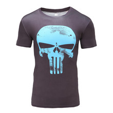 2017  summer  t shirt short sleeve men's skull T-shirt with short sleeves fitness 3 d tights male compression tee tops
