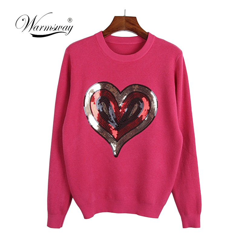 2019 Streetwear Women's Winter Sweaters Casual Long Sleeve Love Heart Sequined Pullover Autumn Warm Sweater Women  C-305