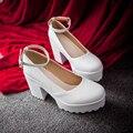 Новый женская обувь женская высокие каблуки chaussure femme толстый каблук платформы насосы дизайнерской обуви 2017 обувь женщины плюс размер