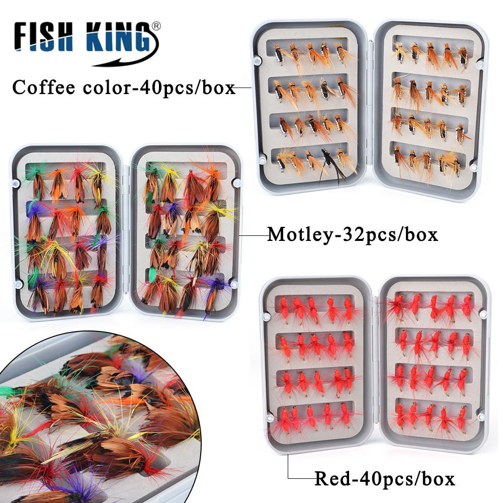 Mixed Trout Flies Wet Dry Nymphs Buzzers for Fly Fishing Waterproof Fly Box