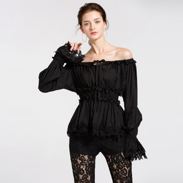 Gothic Off Shoulder Lace Blouses Slash Neck Waist Slimming Flare Sleeve 2 Colors 1