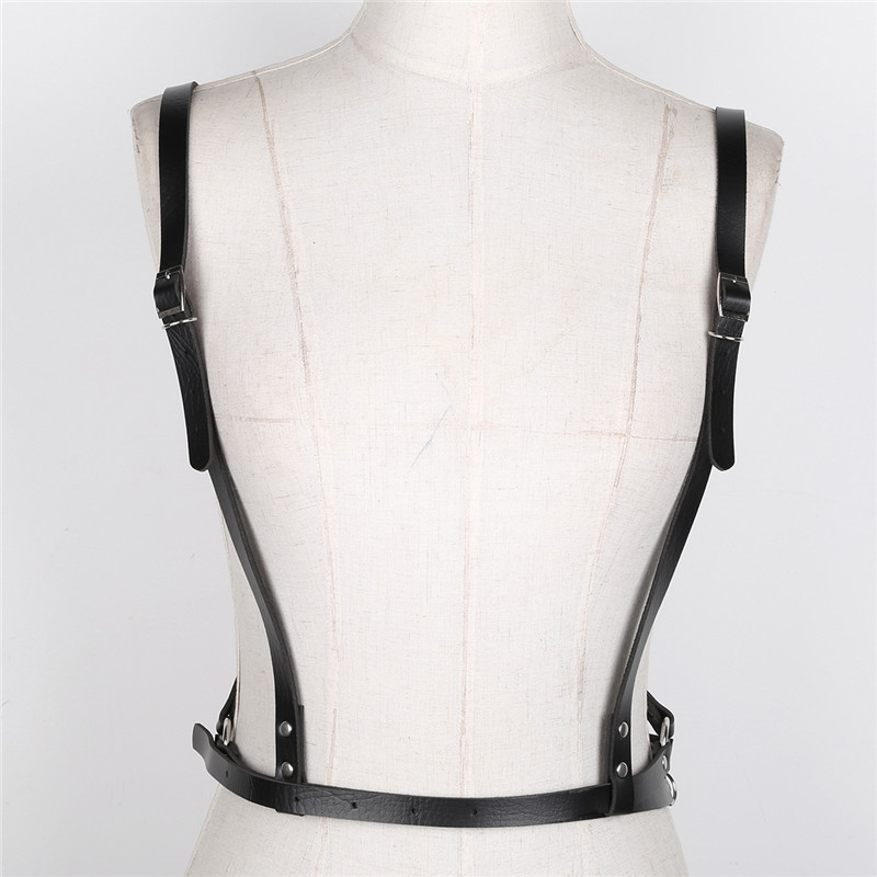 TiaoBug Women Harajuku Lingerie Faux Leather Adjustable Body Chest Harness Metal Rings Women Gothic Sexy Bondage Belts Costume