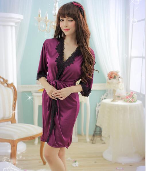 Púrpura, rosa el nuevo hielo de seda del camisón de encaje vestido sedoso suave mujeres ropa interior sexy dormir robe