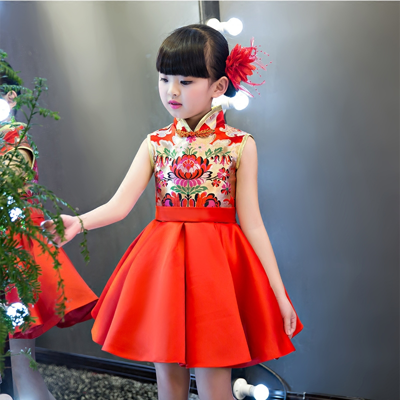 2017 New Girls Chinese Qipao Princess Printing Dress Summer Sleeveless Red Wedding Birthday Party Cheongsam Dresses For Children fashion summer style kids baby girls peacock dress cheongsam chinese qipao floral pattern dresses