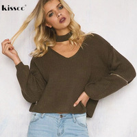 2017 Sexy Halter Spring Winter Sweater Long Sleeve Loose Zipper Pullovers Knitted V Neck Women Fashion