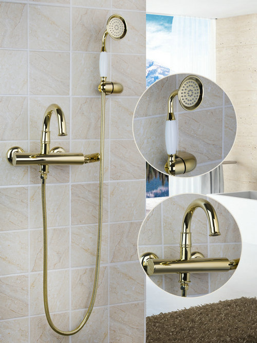 Luxury Wall Mounted Golden Ceramics Handshower 97100 Shower Bathroom Bathtub Torneira Basin Sink Brass Faucet,Mixer Taps new us free shipping simple style golden finish bathtub faucet mixer tap shower faucet w ceramics handheld shower wall mounted